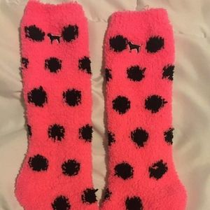 Pink Victorias secret Spotted fuzzy socks dog icon